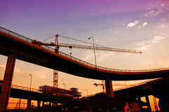 Construction crane in dusk Royalty Free Stock Image