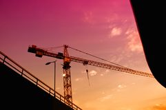 Construction crane in dusk Stock Image