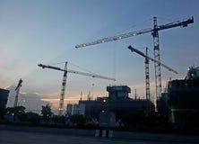 Construction crane at dusk Stock Photos