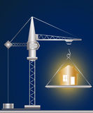 Construction crane and golden house. On blue background Stock Photography