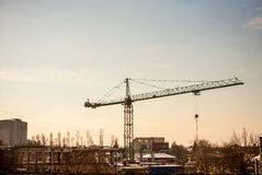 Construction with a crane in industrializes area Stock Images