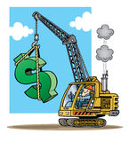 Construction crane lifting a large green dollar si. Cartoon illustration of a construction crane lifting a large green dollar sign vector illustration