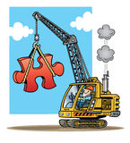 Construction crane lifting a large red puzzle piec. Cartoon illustration of a construction crane lifting a large red puzzle piece royalty free illustration