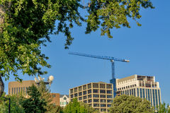 Construction crane and office buildings in Boise Idaho Royalty Free Stock Photography