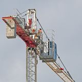 Construction crane removal. Update ed301. Gosford. April 9, 2019. Gosford, New South Wales, Australia - April  9, 2019:  The disassembly of a tower crane from stock images