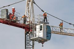 Construction crane removal. Update ed305. Gosford. April 9, 2019. Gosford, New South Wales, Australia - April  9, 2019: The disassembly of a tower crane from new stock photography