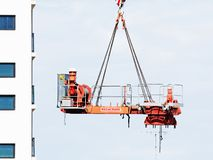 Construction crane removal. Update ed320. Gosford. April 9, 2019. Gosford, New South Wales, Australia - April  9, 2019: The disassembly of a tower crane from new royalty free stock photography