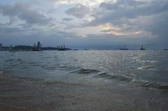 Construction crane at sea and city, Thailand Stock Photography