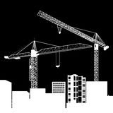 Construction crane silhouette industry illustration architecture. Vector construction crane silhouette industry illustration architecture Stock Photos