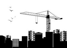Construction crane silhouette industry illustration architecture. Vector construction crane silhouette industry illustration architecture Royalty Free Stock Photography