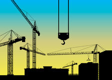 Construction crane silhouette industry illustration architecture. Vector construction crane silhouette industry illustration architecture Royalty Free Stock Image