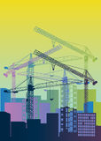 Construction crane silhouette industry illustration architecture Stock Images