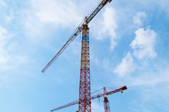 Construction Crane and Skyscraper. Construction Office Building, Katowice Poland Royalty Free Stock Images