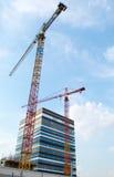 Construction Crane and Skyscraper. Construction Office Building, Katowice Poland Royalty Free Stock Photos