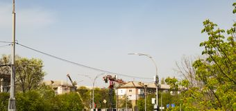 Construction crane on the streets stock photography