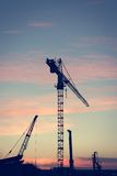 Construction crane at sunset. Stock Photo