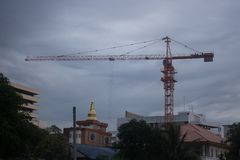 The construction crane on sunset,Thailand royalty free stock images