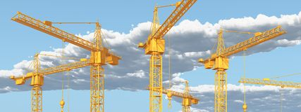 Construction cranes against a blue sky with clouds. Computer generated 3D illustration with construction cranes against a blue sky with clouds Stock Photography