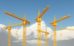 Construction cranes against a blue sky with clouds. Computer generated 3D illustration with construction cranes against a blue sky with clouds Royalty Free Stock Photo