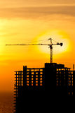 Construction cranes and building silhou Stock Photo