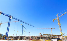 Construction cranes on a building site