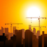 Construction Cranes and Buildings Stock Image