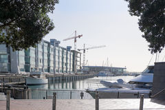Construction cranes, buildings and powerboats at Viaduct Harbour Stock Photos