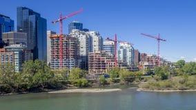 Construction cranes, Calgary stock video