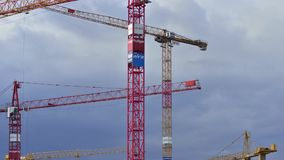 Construction cranes stock video