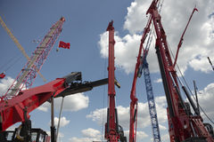 Construction cranes on construction machinery exhibition Royalty Free Stock Image