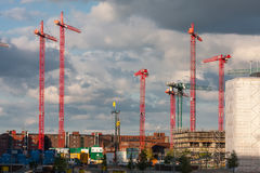 Construction cranes on a construction site in Hamburg Royalty Free Stock Image