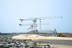 Construction cranes in Dubai Stock Photos