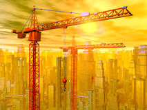 Construction cranes in front of a city landscape Royalty Free Stock Photos