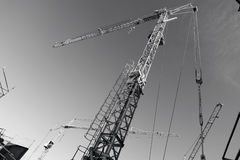 Construction -cranes inside building-site Stock Image