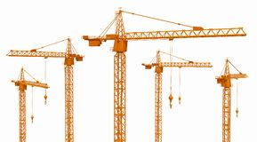 Construction cranes isolated on white background. Computer generated 3D illustration with construction cranes isolated on white background Stock Photo