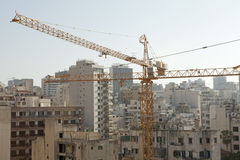 Construction cranes, Lebanon. Construction cranes being used in the redevelopment of the central area of Beirut Stock Image