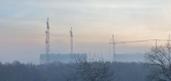 Construction cranes in the morning fog Stock Photo