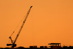 Construction cranes silhouettes Royalty Free Stock Photography