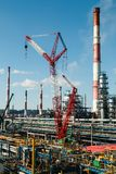 Construction cranes on the site of the zero cycle stock images