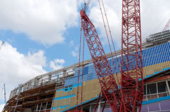 Construction Cranes and Stadium in Minneapolis royalty free stock photography