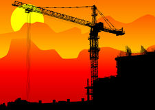 Construction cranes sun Royalty Free Stock Photography