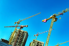 Construction cranes and tall buildings Stock Images