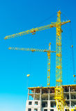 Construction cranes in work Stock Image