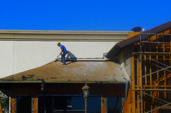 Construction Crew-framing project. Men working on roof lines for commercial construction project Royalty Free Stock Photography