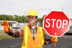 Construction Crew Stop Sign royalty free stock photos