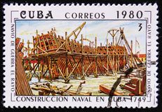 Construction of a Cuban naval vessel `El Rayo`, built in 1749, circa 1980 Stock Image