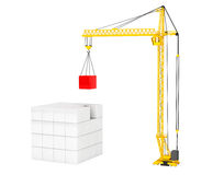 Construction of Cubes by Yellow Tower Crane Stock Photography