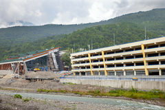 The construction of cultural center and parking in Adler Royalty Free Stock Images