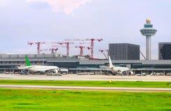 Construction d'aéroport international de Changi, Singapour Images libres de droits