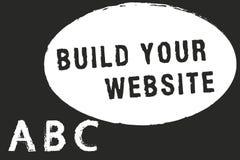 Construction d'apparence de signe des textes votre site Web Photo conceptuelle installant un système de commerce électronique pou illustration libre de droits